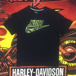 Nike Swoosh Camo Check Tee Shirt Logo Large